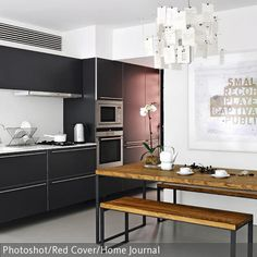 moderne k che mit holzbalken aufwerten modern. Black Bedroom Furniture Sets. Home Design Ideas