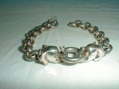 vintage sterling silver elephants bracelet 35 grams - Quality Vintage Jewelry