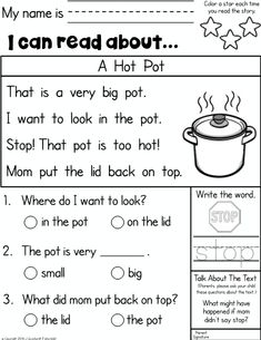 Kindergarten Reading Comprehension Homework The Effective Pictures We Offer You About simple Reading Comprehension A quality picture can tell you many things. You can find the most beautiful pictures Kindergarten Homework, Reading Homework, English Worksheets For Kindergarten, Reading Skills, Grade 1 Reading Worksheets, Learn To Read Kindergarten, Kids Worksheets, Vocabulary Worksheets, Reading Response