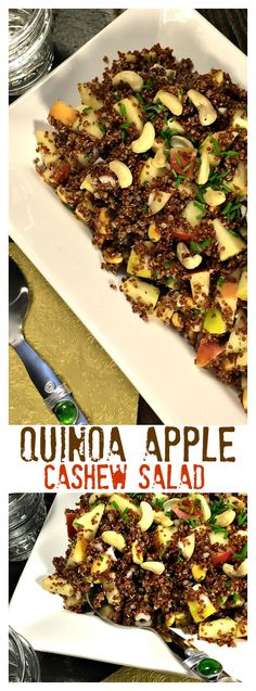 Quinoa Apple Cashew Salad delicious served warm or cold. Make the quinoa ahead of time; recipe only takes 5 minutes to make!