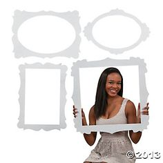 Picture Frame Cutouts - Oriental Trading $6 for 4. To hang vintage baby dresses in.