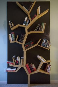 DIY Bookshelf Ideas - Tree Bookshelf DIY - DYI Bookshelves and Projects - Easy and Cheap Home Decor Idea for Bedroom, Living Room - Step by Step tutorial Tree Bookshelf, Bookshelf Design, Bookshelf Ideas, Simple Bookshelf, Book Shelves, Bookshelf Decorating, Tree Shelf, Nursery Bookshelf, Bookshelf Organization