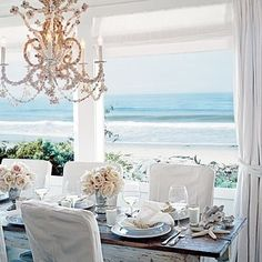 Shabby chic beach cottage and of course a chandelier! Shabby chic beach cottage and of course a chandelier! Coastal Style, Coastal Decor, Coastal Curtains, Modern Coastal, Coastal Industrial, Coastal Interior, Coastal Rugs, Coastal Bedding, Interior Livingroom