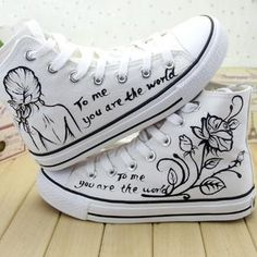 Buy 'HVBAO – Painted High-Top Lace-Up Canvas Sneakers' with Free International Shipping at YesStyle. Painted Canvas Shoes, Painted Sneakers, Hand Painted Shoes, Canvas Sneakers, Shoes Sneakers, Converse Shoes, Me Too Shoes, Sharpie Shoes, Girls Shoes