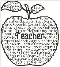 Teacher In Words is a unique outline cross stitch chart measuring 95 stitches wide by 107 stitches high and has been designed for you to you use Cross Stitch Letters, Cross Stitch Baby, Cross Stitch Charts, Machine Embroidery Applique, Cross Stitch Embroidery, Embroidery Ideas, Teacher Appreciation Gifts, Teacher Gifts, Teacher Presents