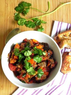 Crockpot Moroccan eggplant: Substituting garam masala, nutmeg, cinnamon and ground mix for the ras el hanout