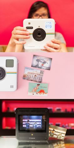 Instantly snap photos, print them out and even share online with the Polaroid Socialmatic!