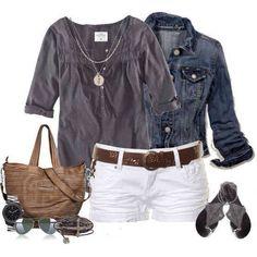 Camicia jeans e short bianco