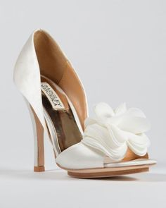 Badgley+Mischka+RANDALL+Dress+Pumps+High+Heels+Sz+10++White+Satin++#BadgleyMischka+#OpenToe