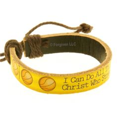 Leather Bracelet I can do sports basketball from Forgiven Jewelry