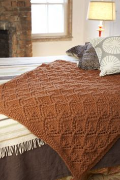 Free Knitting Pattern: Mayfield Afghan from Lion Brand.  Skill Level: Easy