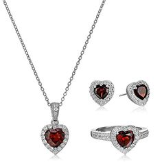 Sterling Silver Garnet and White Topaz Halo Heart Earrings Ring and Pendant Necklace Jewelry Set...