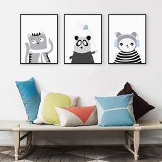 art print poster Picture - More Detailed Picture about Triptych Kawaii Animal Panda Cat Art Print Poster Modern Nordic Nursery Wall Picture Kids Room Decor Canvas Painting No Frame Picture in Painting & Calligraphy from Mild Art Framed Store 3 Piece Canvas Art, Canvas Art Prints, Canvas Wall Art, Framed Canvas, Leaf Wall Art, Wall Art Decor, Room Decor, A4 Poster, Poster Prints