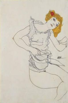 Egon Schiele Blond Girl in Underwear, 1913 Gouache and pencil on paper x 31 cm 18 x 12 inches Signed Egon Schiele and dated 1913 (center right) Executed in Gustav Klimt, Figure Painting, Figure Drawing, Painting & Drawing, Egon Schiele Drawings, Gouache, Art Moderne, Life Drawing, Pablo Picasso