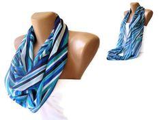 chevron infinity loop scarf! mint green,blue,aqua,dark blue,white ...neon colors women scarf ! infinity loop scarf ! Loop Scarf- Cowl Scarf- Eternity scarf,Circle Scarf- Accessories- Scarf- Chunky infinity Sarf Cicrcle , chiffon scarf *** Women fashions *** Handmade Chiffon scarf multicolor ...