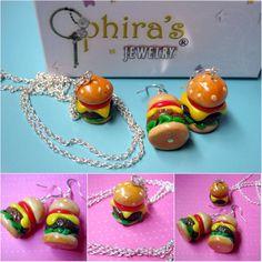 cute polymer clay hamburger handmade jewelry