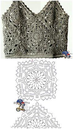 Fashion Tips Bags .Fashion Tips Bags Mode Crochet, Crochet Diy, Crochet Shirt, Crochet Motif, Crochet Stitches, Crochet Tops, Irish Crochet Patterns, Crochet Diagram, Knitting Patterns