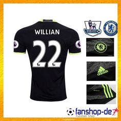 Neues FC Chelsea Auswärtstrikot WILLIAN 22 Schwarz 2016 2017 Fanshop Kaufen 888cec55f8ce7