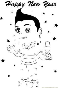 Cartoon Man Celebrating New Years dot to dot printable