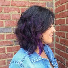 curly lob with purple highlights