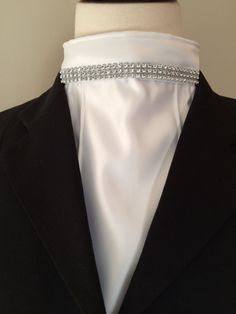 Stock tie -white satin single bib with topstitched pleats and bling. Dara James Designs