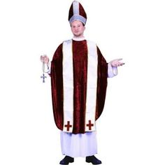 Cardinal Adult Costume - Includes: Long White under robe with Gold metallic trim and detachable clerical collar, deep Red velvet over tunic, two detachable neck stole pieces with metallic trim and matching mitre hat. Cross not included. One-Size. Costume Wigs, Costume Shop, Costume Dress, Pope Costume, Halloween Kostüm, Halloween Costumes, Easter Costumes, Fancy Dress, New Dress