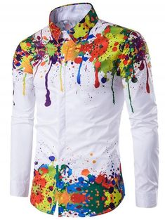 Cheap camisa masculina, Buy Quality mens dress shirts directly from China men's fashion dress shirts Suppliers: Colorful Shirt Men 2017 Splash Ink Printed Long Sleeve Chemise Homme Mens Dress Shirts Casual Slim Fit Fashion Camisas Masculina Slim Fit Dress Shirts, Slim Fit Dresses, Fitted Dress Shirts, Long Sleeve Shirt Dress, Long Sleeve Shirts, Cool Shirts For Men, Casual Shirts For Men, Men Casual, Cheap Shirts