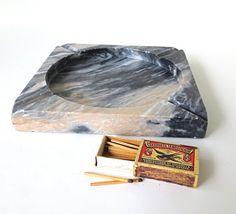 Stone Ashtray / Marble / Granite  / Mid Century Tobacciana Collectible Barware