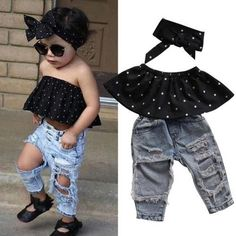 fd4e83d30fdd Toddler Girl Off the Shoulder Ruffle Top Ripped Jeans and Matching Head Bow