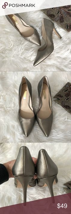 """[Louis et Cie] Metallic Heels Stunning metallic pumps by Louis et Cie.  Size 7.  4"""" heel.  Purchased at Nordstrom.  I wore these once to an event so they are still in excellent condition.  There is the tiniest scuff on one toe near the sole so you don't see it, but I want to mention it.  Gorgeous shoes.  These match beautifully with the Anthropologie clutch in the cover photo, listed in my closet as well.  Bundle them for savings and free shipping! Louis et Cie Shoes Heels"""