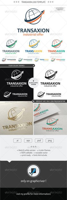 Transaxion Logo Template — Photoshop PSD #psd #earth • Available here → https://graphicriver.net/item/transaxion-logo-template/7398453?ref=pxcr