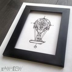 Balloon mandala compass tattoo - design of Serra D.