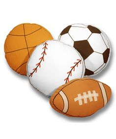 @Overstock - Dress up your boys room with these sporty decorative pillows. Available in baseball, soccer, basketball, and football, boys can have all of their favorites. These accent pillows are a fun decoration for any kid who loves to play sports.http://www.overstock.com/Home-Garden/Play-Ball-Sports-Themed-Decorative-Pillows/2873198/product.html?CID=214117 $23.49