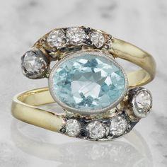 Vintage Aquamarine & Diamond Engagement Ring
