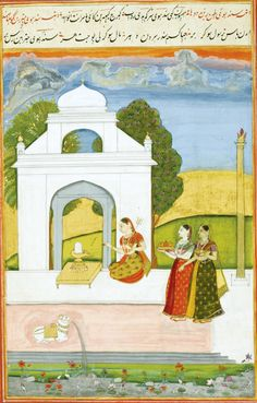 Leaf with two Ragamala illustrations: Saindhava Ragini and Madhamada (?) Ragini, India, Deccan, Hyderabad, circa 1760, Gouache heightened with gold on paper, a double-sided leaf, each page with text above the miniature in red and black nast'aliq script on cream paper, red borders, recto numbered in lower border in Persian '15'