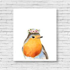 Watercolor robin with flower crowned Woodland by zuhalkanar