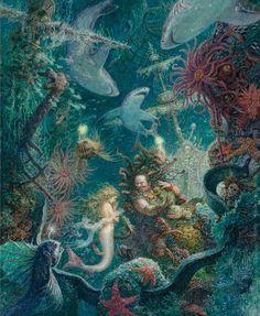 RARE Little Mermaid Hans Christian Andersen by Lomaev Russian modern postcard Real Mermaids, Mermaids And Mermen, Water Fairy, Mermaid Illustration, Water Nymphs, Mermaid Tale, Vintage Mermaid, Fairytale Art, Merfolk