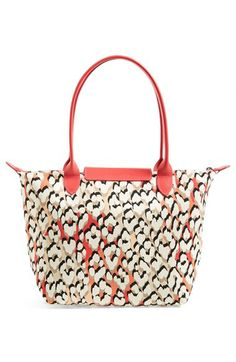 Beautiful leopard spotted #longchamp tote in #coral http://rstyle.me/n/hndj9nyg6