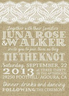 Classy Custom Wedding Invitation Wording in Vintage Style by JulsNewBrough