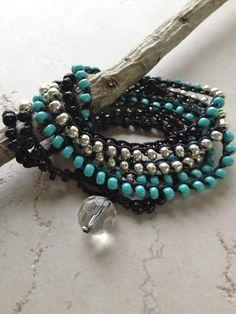 """Beaded Crochet """"Sea Floor"""" Wrap Bracelet and Necklace Combo, Beach Boho. $35.00, via Etsy."""