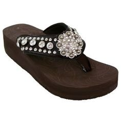 "MONTANA WEST RHINESTONE WESTERN SANDAL FLIP FLOP(Size-6) by MONTANA WEST. $35.95. - Style: Foam platform base is 1.25"" high at front and 1.75"" thick at heel.  - Flip flop strap : 0.5 inches wide.  - Padding under the straps to protect the feet. 1.75"" poly-urathane EVA sole.  - Decorated with Rhinestones and Studs  - Padded Strap Lining  - Soft and Comfortable Footbed"