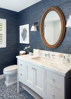 297 Best Blue White Bathrooms Images On Pinterest Bathroom Half And Decor