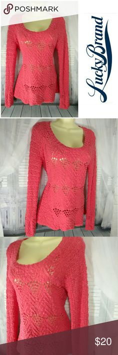 Lucky Brand Calypso Coral Jane Pullover Sweater See through long sleeve crew neck Lucky Brand Sweaters Crew & Scoop Necks