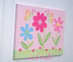pottery barn garden party   Garden Party Painting Butterfly Flowerland Nursery Art by kaiulani