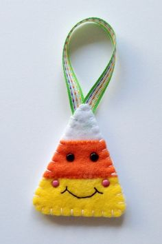 Felt Halloween Ornaments Tutorial and Free Pattern - Candy Corn - Felt With Love Designs