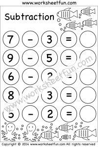 Subtraction – 5 Kindergarten Subtraction Worksheets