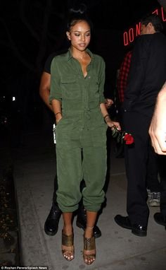 Karrueche Tran works military chic in khaki jumpsuit to party in LA Karrueche Tran couldn't keep the smile off her face as she made her way out of Henry's night club in West Hollywood on Monday night. Love Fashion, Womens Fashion, Fashion Design, Fashion Goth, Stylish Outfits, Fashion Outfits, Military Chic, Karrueche Tran, Boiler Suit