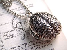 Zombie Brain Locket Necklace Jewelry Silver Plated Metal Weird Horror Gothic Victorian Anatomical Fashion Accessories From Cosmic Firefly. $28.00, via Etsy.