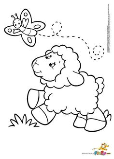 Cute Sheep Chasing Butterfly Coloring Page - Free Coloring Pages Online Easter Coloring Pages, Coloring Sheets For Kids, Animal Coloring Pages, Colouring Pages, Free Coloring, Coloring Books, Kids Coloring, Spring Coloring Pages, Online Coloring
