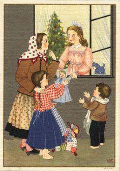 CONFRATERNIZAÇÃO INFANTIL – Laura Costa. Desenho policromo reproduzido em bilhete-postal de Boas Festas dos CTT, emitido em 1944 com selo de $30 do tipo Caravela e impresso em off-set na litografia Maia, no Porto.